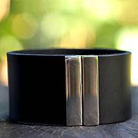 Men's leather wristband bracelet, 'Midnight Samba' - Men's Leather Bracelet with Magnetic Clasp from Brazil
