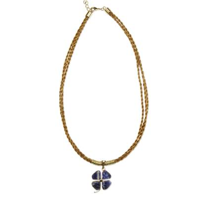 Sodalite Pendant on Braided Golden Grass Necklace