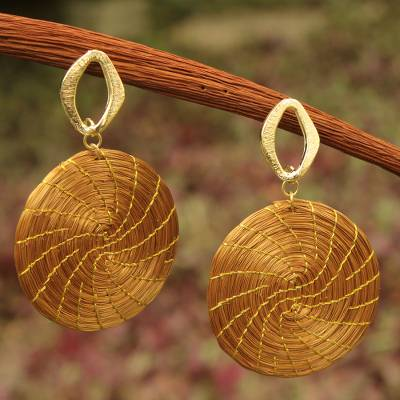 Gold plated golden grass dangle earrings, 'Sublime Nature' - Golden Grass Earrings with Gold Plated Accents