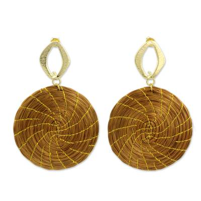 Golden Grass Earrings with Gold Plated Accents