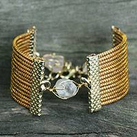 Golden grass and quartz wristband bracelet, 'Eco Guard' - Golden Grass and Quartz Handcrafted Wristband Bracelet