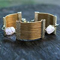 Golden grass and rose quartz wristband bracelet, 'Eco Romance' - Handcrafted Golden Grass and Rose Quartz Wristband Bracelet