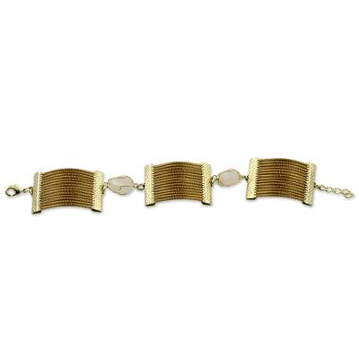 Handcrafted Golden Grass and Rose Quartz Wristband Bracelet