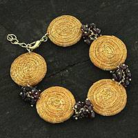 Golden grass and garnet link bracelet, 'Eco Passion' - Artisan Crafted Golden Grass and Garnet Bracelet