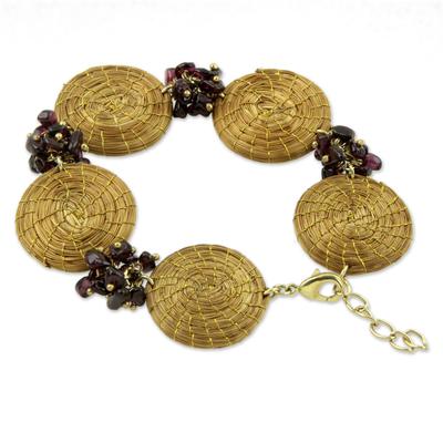 Artisan Crafted Golden Grass and Garnet Bracelet
