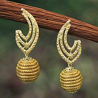 Golden grass and gold plate dangle earrings, 'Golden Trophy' - Fair Trade Golden Grass Handcrafted Earrings