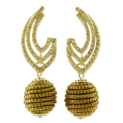 Fair Trade Golden Grass Handcrafted Earrings