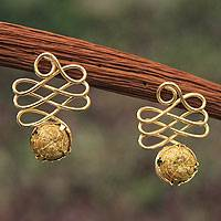 Gold plated golden grass drop earrings, 'Infinite Paths' - Fair Trade Golden Grass Handcrafted Drop Earrings