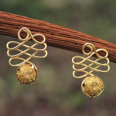 Gold plated golden grass drop earrings, 'Infinite Paths' - Fair Trade Golden Grass Handcrafted Drop Earrings