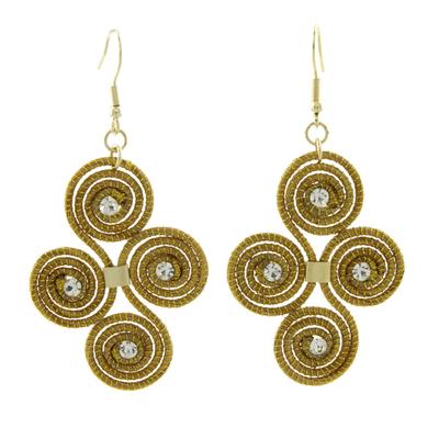 Golden grass dangle earrings, 'Hypnotic Jalapão' - Artisan Crafted Golden Grass Hook Earrings From Brazil