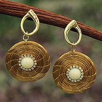 Golden grass jewelry set, 'Jalapão Moon' - Artisan Crafted Jewelry Natural Golden Grass Earrings