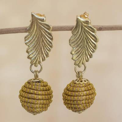 Gold plated golden grass dangle earrings, 'Golden Nature' - Fair Trade Golden Grass Handcrafted Dangle Earrings