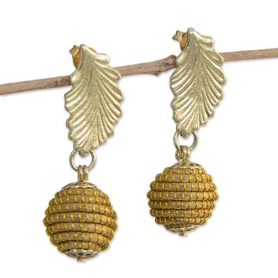Fair Trade Golden Grass Handcrafted Dangle Earrings