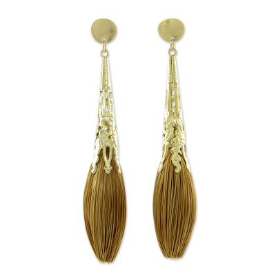 Handcrafted Golden Grass and Gold Plate Dangle Earrings