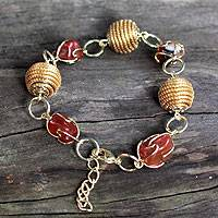 Golden grass and agate link bracelet, 'All Aglow' - Hand Crafted Golden Grass and Agate Link Bracelet