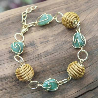 Golden grass and agate link bracelet, All Aglow in Green