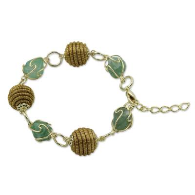 Hand Crafted Green Agate and Golden Grass Link Bracelet
