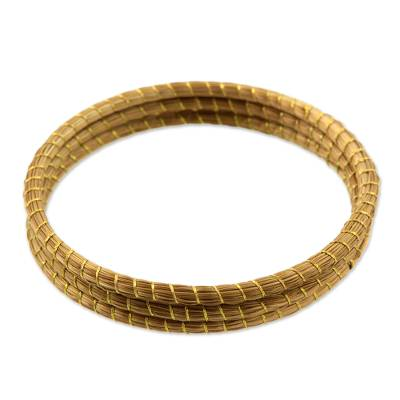Handcrafted Golden Grass Bangle Bracelets (Set of 3)