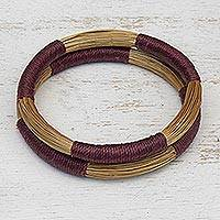 Golden grass bangle bracelets, 'Jalapão Harmony' (pair) - Pair of Artisan Crafted Golden Grass Bangle Bracelets