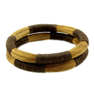 Pair of Handcrafted Golden Grass Bangle Bracelets