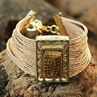 Palm and golden grass wristband bracelet, 'Golden Exotic' - Gold Plate and Natural Fibers Wristband Bracelet from Brazil