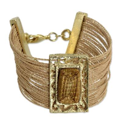 Gold Plate and Natural Fibers Wristband Bracelet from Brazil