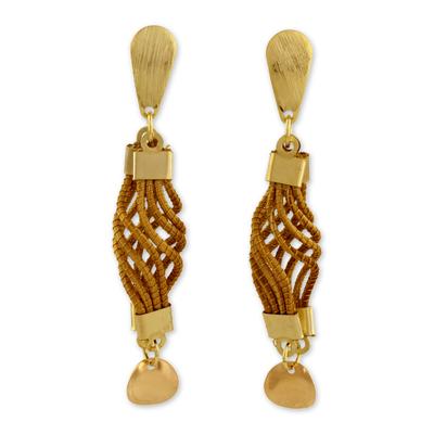 Gold plated golden grass dangle earrings, 'Serpentine Union' - Fair Trade Golden Grass Handmade Earrings with Gold Accents