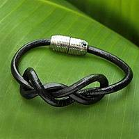 Leather wristband bracelet, 'Black Bahia Braid' - Hand Crafted Black Leather Bracelet with Magnetic Clasp