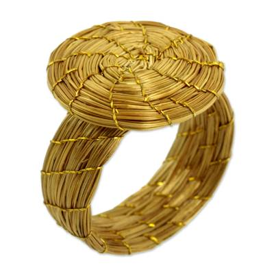 Fair Trade Golden Grass Hand Crafted Cocktail Ring