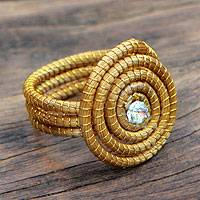 Golden grass cocktail ring, 'Jalapão Evolution' - Sparkling Golden Grass Cocktail Ring Crafted by Hand