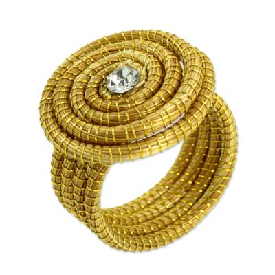 Sparkling Golden Grass Cocktail Ring Crafted by Hand