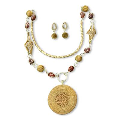 Agate and Golden Grass 2-piece Jewelry Set with Gold Accents