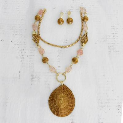 Golden grass and rose quartz flower jewelry set, 'Jalapão Romance' - Fair Trade Natural Golden Grass and Rose Quartz Jewelry Set