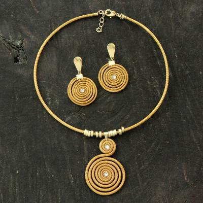 Gold plated golden grass jewelry set, 'Jalapão Evolution' - Handcrafted Golden Grass Jewelry Set with Gold Plated Accent