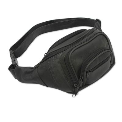 Handcrafted Brazilian Black Leather Waist Worn Travel Bag