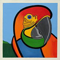 'Scarlet Macaw' - Brazilian Original Cubist Red Bird Stretched Painting