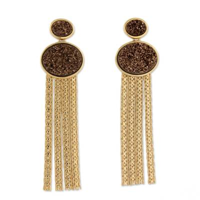 18k Gold Plated Drusy Waterfall Earrings from Brazil