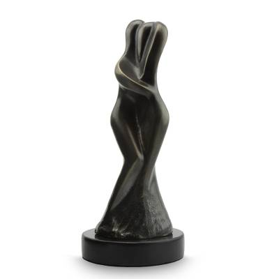 Bronze sculpture, 'Encounter' - Brazilian Couple Theme Signed Bronze Sculpture Granite Base