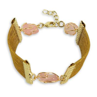 Golden Grass and Rose Quartz Handcrafted Wristband Bracelet