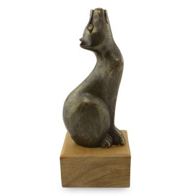 Bronze Sculpture of Cat Looking Up on Mahogany Base