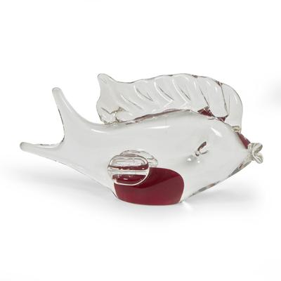 Hand Blown Glass Murano Inspired Fish Figurine Red Center