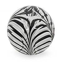Blown glass paperweight, 'Spherical Phoenicia' - Brazilian White and Black Hand Blown Glass Paperweight
