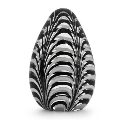 Blown glass paperweight, 'Oval Phoenicia' - Murano Inspired Black/White Hand Blown Glass Paperweight