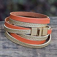 Gold accent wrap bracelet, 'Golden Orange Parallels'
