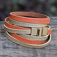 Gold accent wrap bracelet,