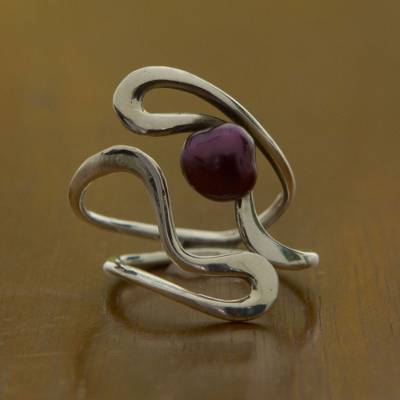 Cultured pearl wrap ring, 'Winding Paths' - Artisan Crafted Burgundy Pearl and Sterling Silver Ring
