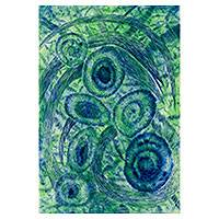 'Ellus' - Brazil Modern Abstract Etching in Blue and Green