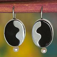 Cultured pearl and agate dangle earrings, 'Night Surf' - Brazilian Silver and Black Agate Handcrafted Dangle Earrings