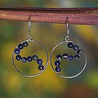 Sodalite dangle earrings, 'Sinuous' - Hand Crafted Brazilian Sodalite and Silver Dangle Earrings