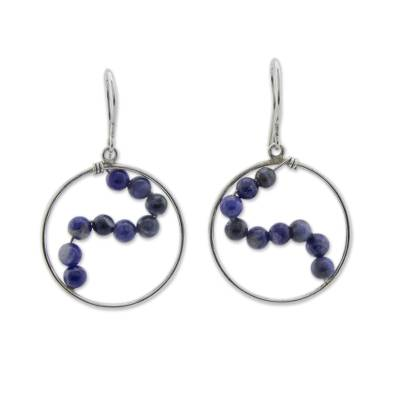 Hand Crafted Brazilian Sodalite and Silver Dangle Earrings